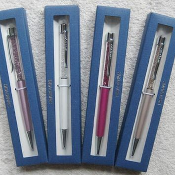 24 color swarovski elements Crystal Pen with Gift brand retail box case Diamond ballpoint pen