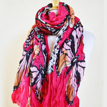 Womens BUTTERFLY V Print patterned cotton scarf - women fashion accessories - mariposa