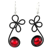 """Enameled Wire and Red Glass Bead """"Sprout"""" Earrings - Chilean"""