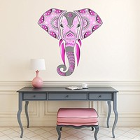 Elephant Full Color Mural - Elephant Ganesha Wall Stickers - Animals Wall Art - Multicolored Indian Elephant Decor - Mehndi Wall Art - Bohemian Bedroom PS2