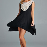 Intricate Lace Tunic Dress - Black