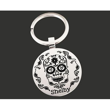 Sugar Skull Personalized Keychain