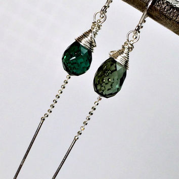 Green Earrings, Green Threader Earrings, Green Quartz Sterling Chain Earrings, Wire Wrapped Gemstone, Minimalist Jewelry, Christmas Jewelry