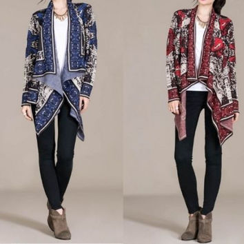 Eliza Bella for Flying Tomato Jacquard Cardigan, Red or Blue Sizes S, M, L