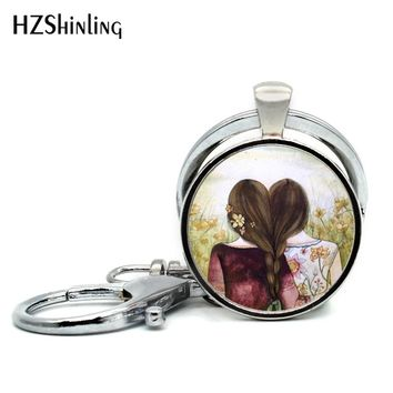 2018 New Arrival Three Sisters Best Friends Keychain Glass Cabochon Key chain Silver Friendship Keyring Silver Gifts for Friend
