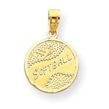 Disc with Softball Charm in 10k Yellow Gold