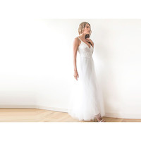 Ivory straps wrap tulle maxi dress, Fairy tulle wedding gown, Affordable wedding gown
