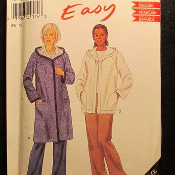 SALE Uncut Simplicity New Look Sewing Pattern, 6100! XS-Sml-Med-Lrg-XL/Women's/Misses Hooded Jackets/Hoodies/Winter Coats/Knee Length Coat/W
