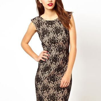 French Connection Pencil Dress In Lace