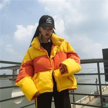 2018 Parka Winter Jacket Striped Autumn Coat Puffer Jacket Padded jacket bicolor tansy oversize