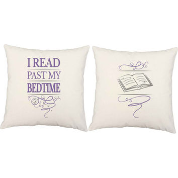 I Read Past My Bedtime Pillows - Book Lover Pillow Covers and or Cushions - Library Pillows, Book Print, Quirky Gift, Reading Pillow Pair