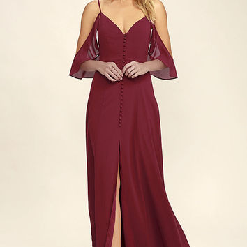 You Found Me Wine Red Maxi Dress