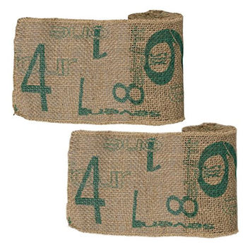 Vintage Numeral Pattern Burlap Ribbon 6-in x 10-ft (2 Pack) (Aqua Print)