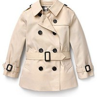 Burberry Toddler Girls' Short Double Breasted Trench Coat