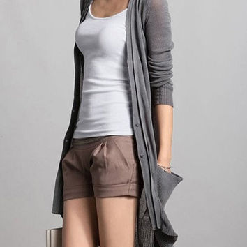 Gray/ Black  Linen dresssweater  women dresssweater  fashon sweater Long dresssweater--SW067