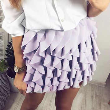 Ruffle Pleated Mini Skirt