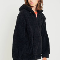 UO Black Teddy Pop Over Hoodie | Urban Outfitters