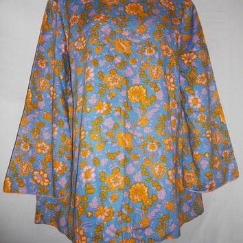 Vintage 60s 70s Mod blouse Ugly All Over Floral Print Handmade Blue Yellow