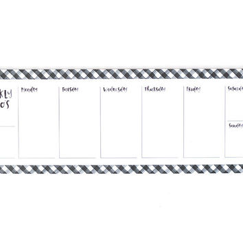 Black Gingham Weekly Notepad
