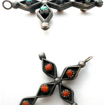 Zuni Reversible Turquoise & Coral Cross Pendant 925