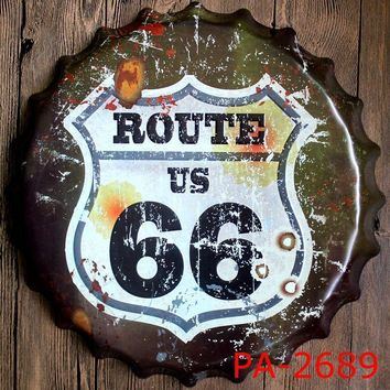 USA ROUTE 66 Road Bottle Cap Decorative Metal Plate Plaque Vintage Pub Wall Art Metal Sign Vintage Home Decor 35 CM
