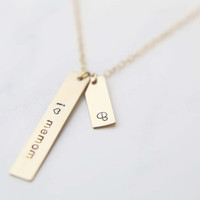 Vertical bar Necklace Combo / Customized Tag Necklace / Monogram & Name Necklace
