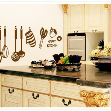 Kitchen Wall Stickers Tableware Cooking Tools Decal