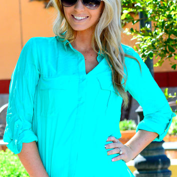 CITY LIFE BUTTON UP TOP IN TEAL