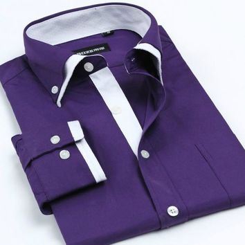 Men's Double Collars Long Sleeve Striped Shirt(Many Color Options)
