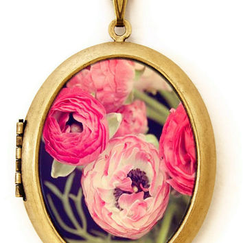 Flower Locket - A Wild Bunch - Pretty Feminine Ranunculus Flower Photo Locket Necklace