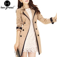 Trench Coat For Women 2016 Fashion Turn-down Collar Double Breasted Contrast Color Long Coats Plus Size Casaco Feminino WWF359