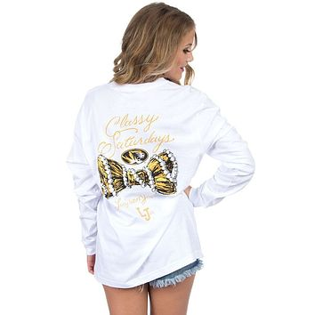 Mizzou Classy Saturday Long Sleeve Tee in White by Lauren James - FINAL SALE