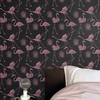 Pink Flamingo Patter Wallpaper - Removable Wallpaper - Flamingo Wall Sticker - Flamingo Wall Decal - Flamingo Self Adhesive Wallpaper