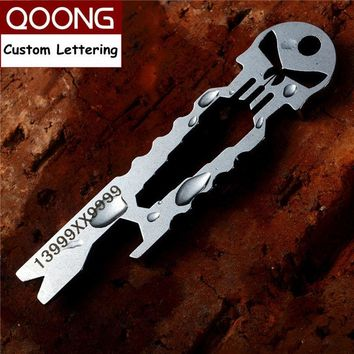 QOONG Punisher EDC Multi Function Tool Keychain with Wrench Crowbar Screwdriver Bottle Opener Skeleton Key Chain Ring Holder H03