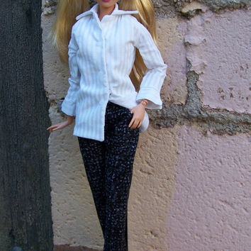 """OOAK """"Power Casual""""  trousers and shirt for Fashionista or bellybutton Barbie by Woven in Time"""
