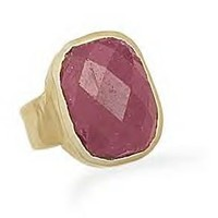 Faceted Ruby Gold Ring