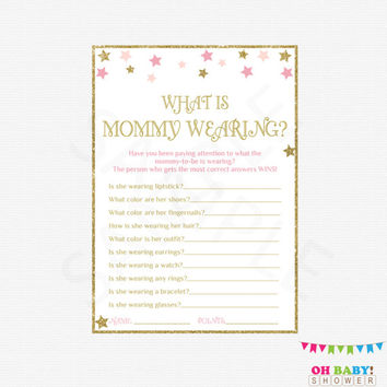 Twinkle Twinkle Little Star Baby Shower, What is Mommy Wearing, Pink and Gold Baby Shower, Baby Shower Activity, Printable Game, STPG