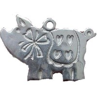 Sterling SIlver Scandinavian Christmas Pig Pendant/ Ornament