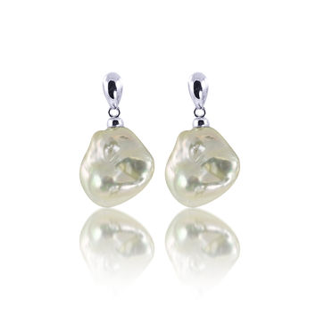 Imperial Pearl:  13-18mm exotic White Keshi Pearl Earrings