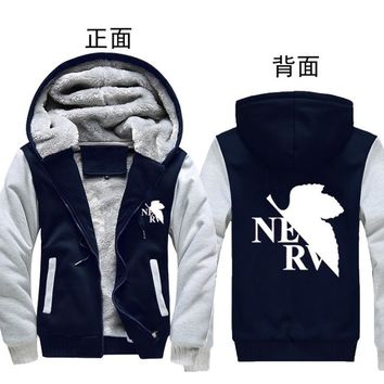 New Winter Warm Neon Genesis Evangelion Hoodies Anime EVA Hooded Coat Thick Zipper men cardigan Jacket Sweatshirt 6 color