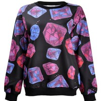 ZLYC Women Girls Lovely Cute Diamonds and Jewels Print Novelty Sweatshirt Pullover