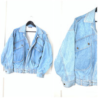 light wash DENIM bomber jacket vintage 80s 90s GRUNGE relaxed fit pale faded unisex JEAN moto jacket os