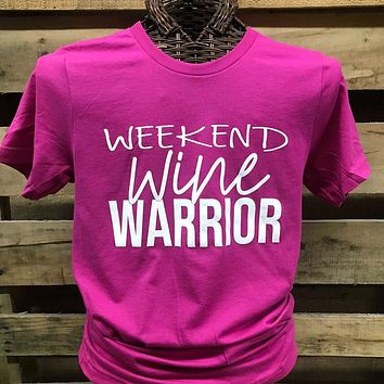 Southern Chics Apparel Weekend Wine Warrior Canvas Girlie Bright T Shirt