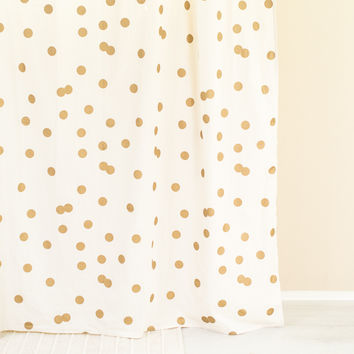 Polka Dot Gold White Shower Curtain
