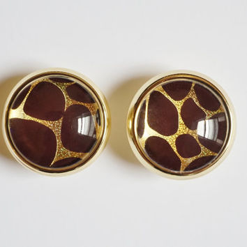 Brown & Gold Giraffe Glass Knobs- Brass or Brushed Nickel