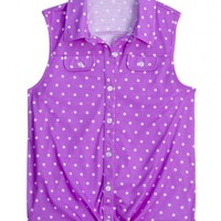 Sleeveless Polka Dot Knit Shirt | Girls Shirts Clothes | Shop Justice