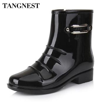 Tangnest Men's Sequined Solid Mid-Calf Shiny Rubber Rain Boots