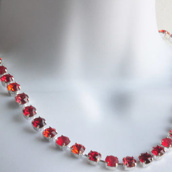 Swarovski Crystal Necklace - Red Multicolored 9mm