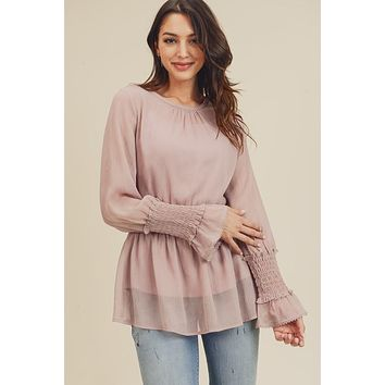 Flirty Smocked Waist and Sleeve Detailed Blouse