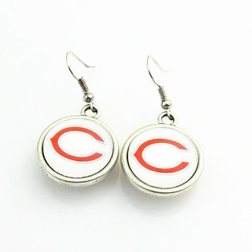 High Quality Double Football Drop Earrings Chicago Bears Team Logo Drop Earrings For Women Jewelry 10pairs/lot